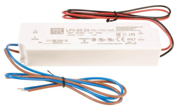 Meanwell Netzgerät, LPV-60-24, Kunststoff, Weiß, 60W, 24V, 163x43mm