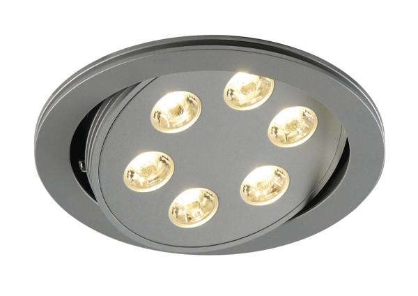 TRITON, Einbauleuchte, sechsflammig, LED, 3000K, rund, silber eloxiert, schwenkbar, 18 W