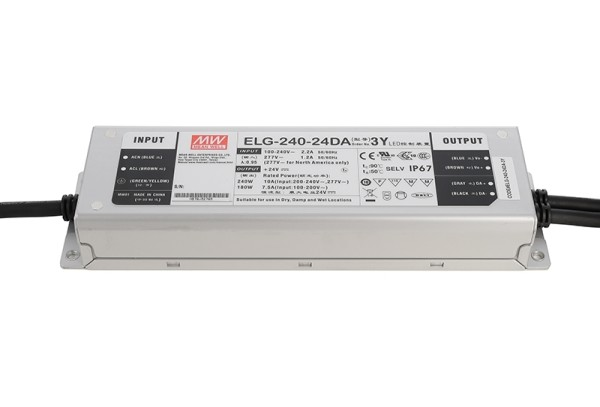 Meanwell Netzgerät, ELG-240-24DA-3Y, Aluminium, Silber, 240W, 24V, 10000mA, 219x63mm