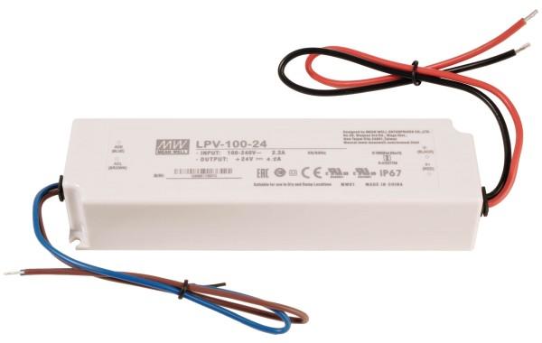 Meanwell Netzgerät, LPV-100-24, Kunststoff, Weiß, 100W, 24V, 190x52mm
