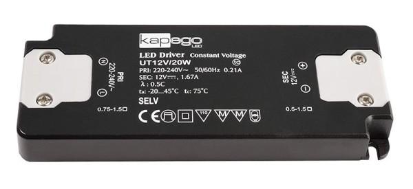 Deko-Light Netzgerät, FLAT, UT12V/20W, Kunststoff, Schwarz, 20W, 12V, 128x50mm