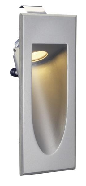 DOWNUNDER MINI, Wandeinbauleuchte, LED, 3000K,silbergrau, 1W, inkl. Blattfedern