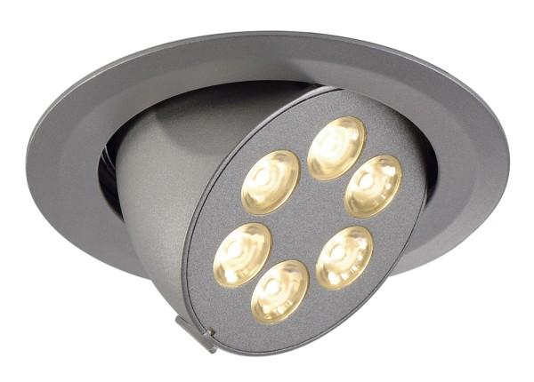 TRITON GIMBLE, Einbauleuchte, sechsflammig, LED, 3000K, rund, silber eloxiert, schwenkbar, 6 W