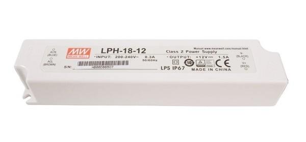 Meanwell Netzgerät, LPH-18-12, Kunststoff, Weiß, 18W, 12V, 140x30mm
