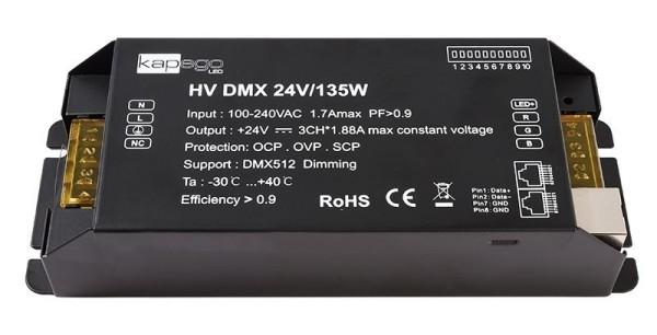 Deko-Light Netzgerät, HV DMX 24V/135W, Metall, Schwarz, 135W, 24V, 196x75mm