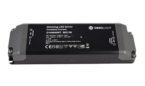 Deko-Light Netzgerät, BASIC, D140040NT, Kunststoff, Schwarz, 40W, 14-28V, 1400mA, 166x52mm