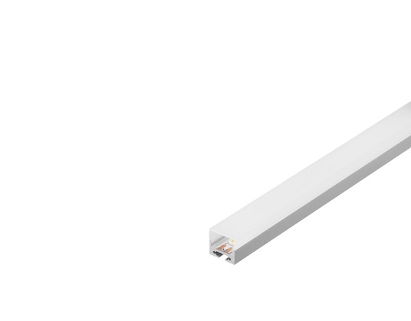 GLENOS, Profi-Profil 2020, aluminium eloxiert, 2 m, mit weißer Abdeckung