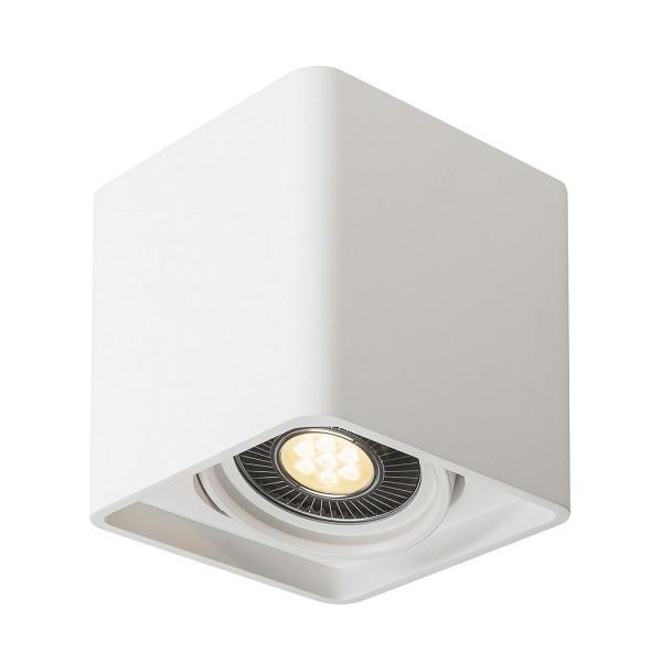 PLASTRA, Deckenleuchte, einflammig, LED GU10 111mm, eckig, weißer Gips, L/B/H 18/18/19 cm