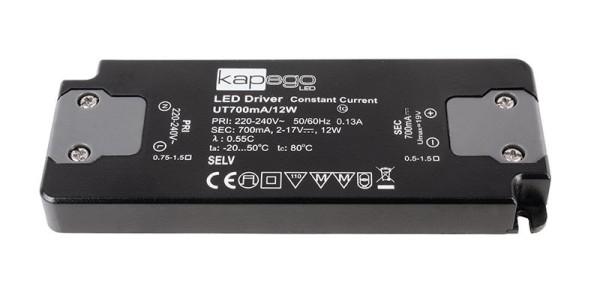 Deko-Light Netzgerät, FLAT, Power Supply 700mA 12W, Kunststoff, Schwarz, 12W, 2-19V, 700mA, 128x50mm