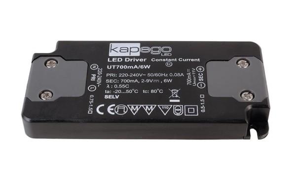 Deko-Light Netzgerät, FLAT, Power Supply 700mA 6W, Kunststoff, Schwarz, 6W, 2-9V, 700mA, 98x46mm