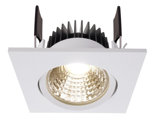 Deko-Light Deckeneinbauleuchte, COB-68-350mA-2700K-eckig, Aluminium, weiß, Warmweiß, 45°, 6W, 16-17V
