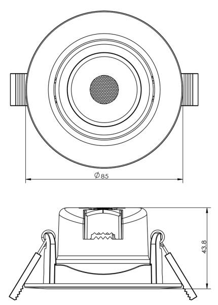 Deko-Light Deckeneinbauleuchte, SMD-68-230V-2700K-rund, Kunststoff, Weiß-matt, Warmweiß, 45°, 6W