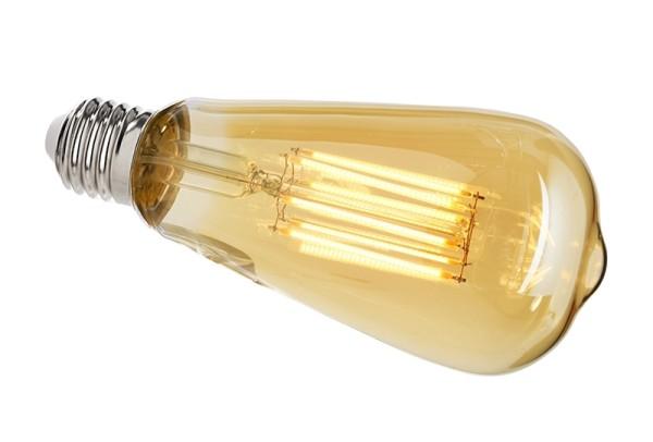 Deko-Light Leuchtmittel, Filament E27 ST64 2200K, Glas, Amber, Warmweiß, 300°, 8W, 230V, 44mA, 145mm