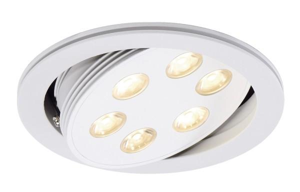TRITON, Einbauleuchte, sechsflammig, LED, 3000K, rund, weiß matt, schwenkbar, 18 W