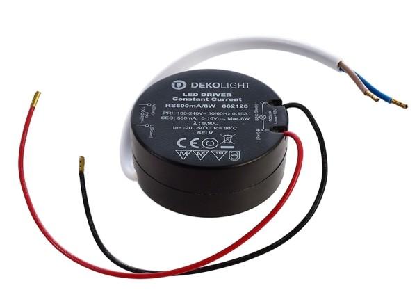 Deko-Light Netzgerät, ROUND, RS500mA/8W, Kunststoff, Schwarz, 8W, 6-16V, 500mA