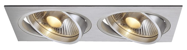NEW TRIA 2, Einbauleuchte, zweiflammig, QPAR111, rechteckig, aluminium gebürstet, max. 150W