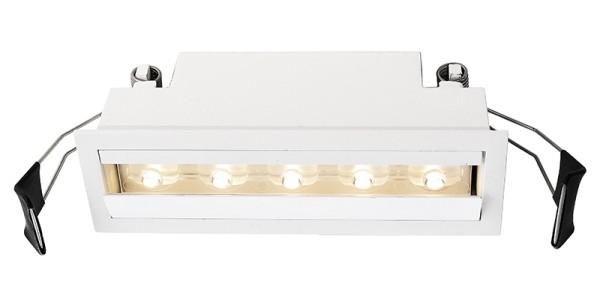 Deko-Light Deckeneinbauleuchte, Ceti 5, Aluminium Druckguss, Weiß, Warmweiß, 30° / 90°, 10W, 14-15V