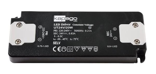 Deko-Light Netzgerät, FLAT, UT24V/20W, Kunststoff, Schwarz, 20W, 24V, 128x50mm