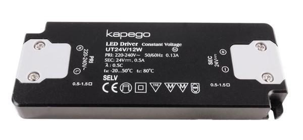 Deko-Light Netzgerät, FLAT, UT24V/12W, Kunststoff, Schwarz, 12W, 24V, 128x50mm