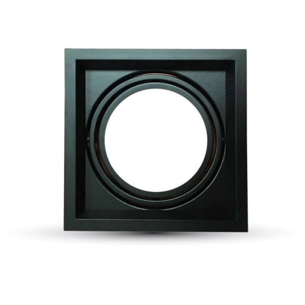 Einbauleuchte AR111, einflammig, rechteckig, schwarz matt, inkl. Clipfedern