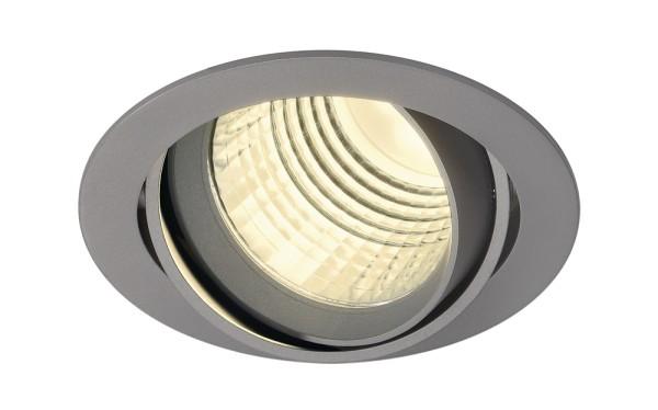 NEW TRIA DLMI, Einbauleuchte, LED, 3000K, rund, silbergrau, 60°, schwenkbar, inkl. Clipfedern