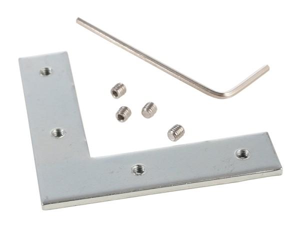 Reprofil Profil Zubehör, Nutenstein / Eckverbinder 90°, Metall, Silber naturbelassen, 12mm