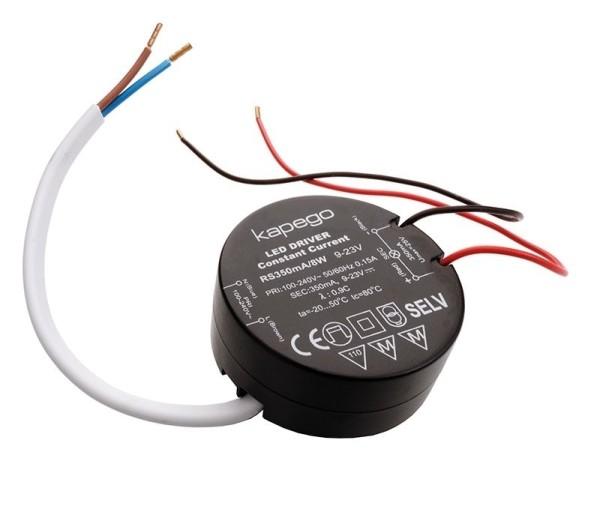 Deko-Light Netzgerät, ROUND, RS350mA/8W, Kunststoff, Schwarz, 8W, 9-23V, 350mA