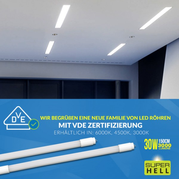 VDE-LED T8 Röhre 150cm, 30W, 4500K, ersetzt T8/58W 840 Leuchtstoffl., neutralweiß, VDE zertifiziert