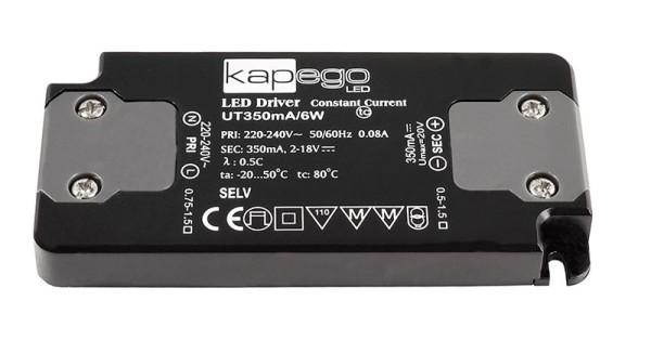 Deko-Light Netzgerät, FLAT, UT350mA/6W, Kunststoff, Schwarz, 6W, 2-18V, 350mA, 98x46mm