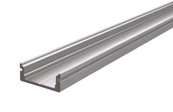 Reprofil Profil, U-Profil flach AU-01-12, Aluminium, Silber gebürstet, 2000mm