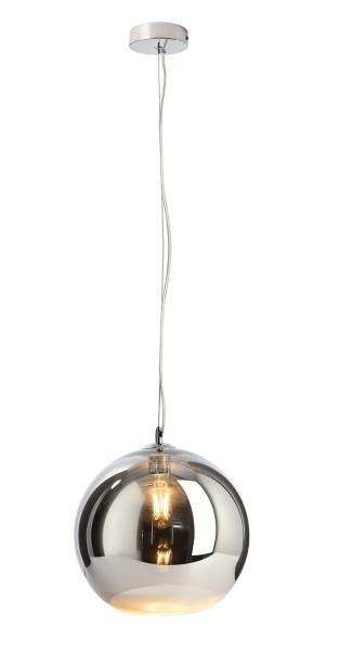 Deko-Light Pendelleuchte, Furnel, Glas, silberfarben verspiegelt, 60W, 230V