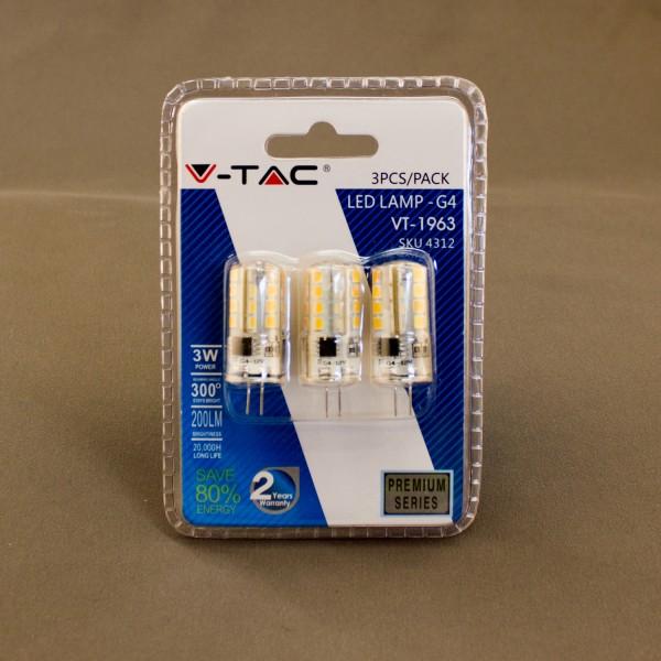 3er Set Leuchtmittel, LED G4 3000K, 3 Watt, 12V AC/DC