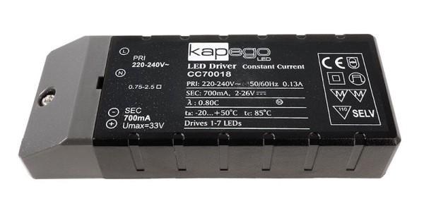 Deko-Light Netzgerät, BASIC, CC70018, Kunststoff, Schwarz, 18W, 2-26V, 700mA, 115x45mm