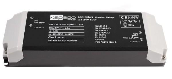 Deko-Light Netzgerät, BASIC, Q3-24V-50W, Kunststoff, Schwarz, 50W, 24V, 2000mA, 184x61mm