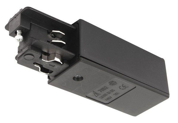 Ivela Schienensystem 3-Phasen 230V, Einspeiser quadratisch links, Kunststoff, Schwarz, 230V, 80x36mm