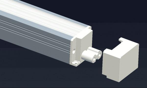Deko-Light Zubehör, Endkappe für Unterbauleuchte Viereck Form, Polycarbonat, Weiß, 18x30mm