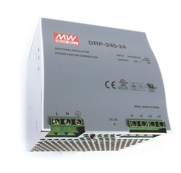 Meanwell Netzgerät, DRP-240-24, Metall, Silber, 240W, 24V, 10000mA, 126x100mm