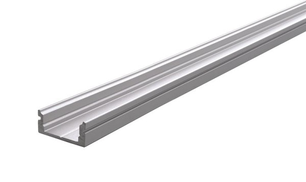 Reprofil Profil, U-Profil flach AU-01-10, Aluminium, Silber-matt eloxiert, 3000mm