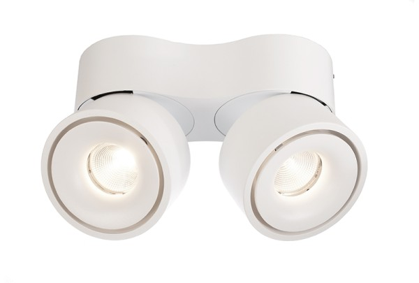 Deko-Light Deckenaufbauleuchte, Uni II Double, Aluminium Druckguss, weiß, Warmweiß, 35°, 18W, 230V