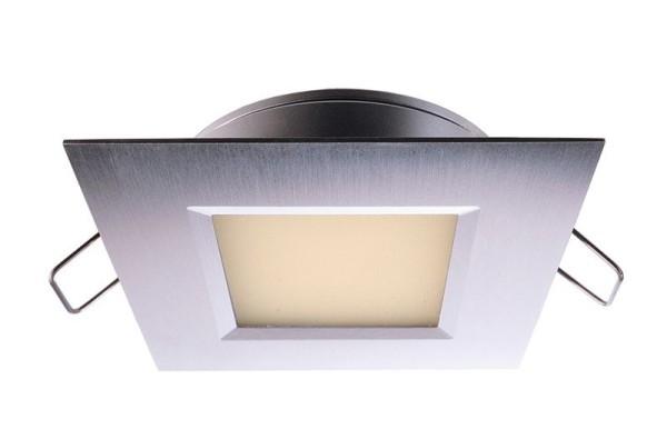 Deko-Light Deckeneinbauleuchte, Aluminium Druckguss, silberfarben gebürstet, Warmweiß, 110°, 3W