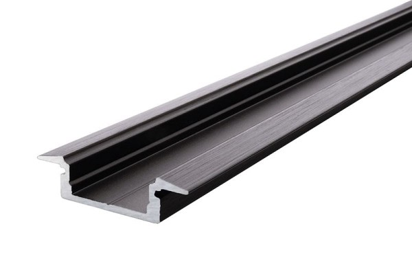 Reprofil Profil, T-Profil flach ET-01-12, Aluminium, Schwarz-matt eloxiert, 2000mm