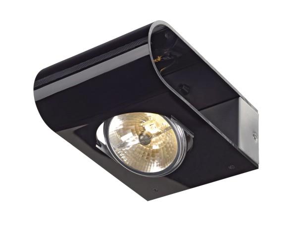RETROSIX WALL, Wandleuchte, QR-LP111, aluminium gebürstet, Acrylglas schwarz, max.50W