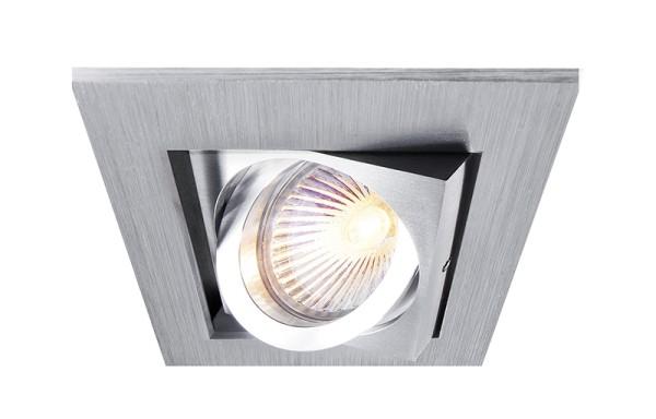 Deko-Light Deckeneinbauring, Kardan I, Aluminium, silberfarben gebürstet, 50W, 12V, 98x98mm