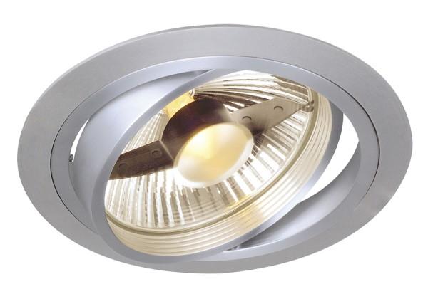 NEW TRIA 1, Einbauleuchte, einflammig, QPAR111, rund, aluminium gebürstet, max. 75W