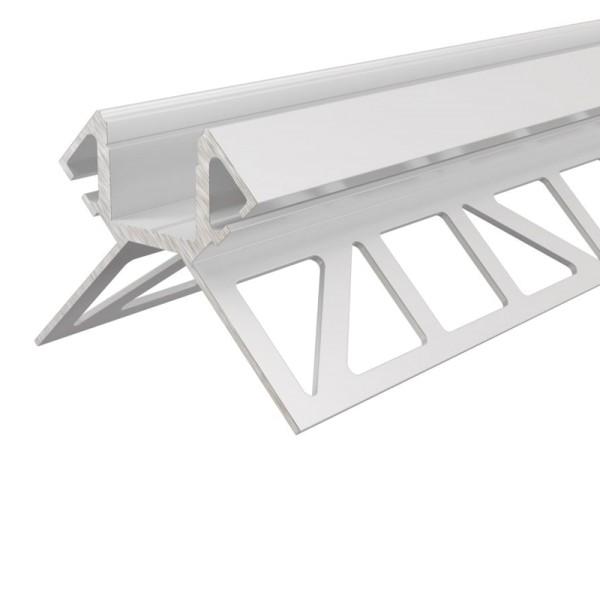 Reprofil Profil, Fliesen-Profil Ecke außen EV-02-12, Aluminium, Weiß lackiert, 2500mm