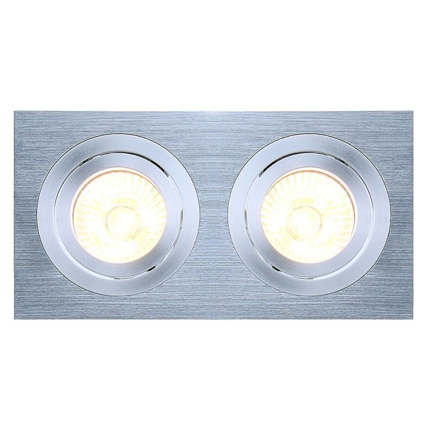 NEW TRIA II GU10 SQUARE Downlight, alu brushed, max. 2x50W, inkl. Clipfedern