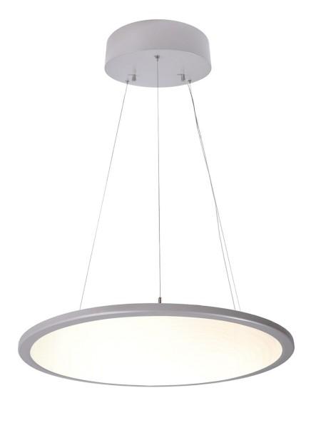 Deko-Light Pendelleuchte, LED Panel transparent rund, Aluminium, silberfarben, Warmweiß, 150°, 50W