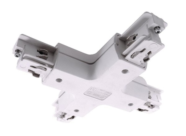 Ivela Schienensystem 3-Phasen 230V, X-Verbinder quadratisch, Kunststoff, Weiß, 230V, 120x120mm
