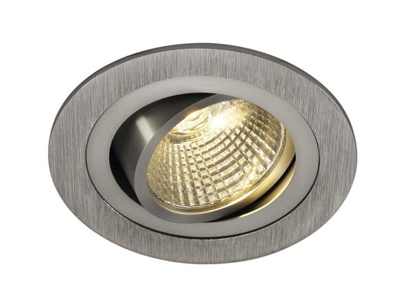 NEW TRIA 1 SET, Einbauleuchte, einflammig, LED, 3000K, rund, aluminium gebürstet, 38°, 9,1W