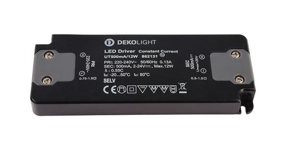 Deko-Light Netzgerät, FLAT, Power Supply 500mA 12W, Kunststoff, Schwarz, 12W, 2-24V, 500mA, 128x50mm